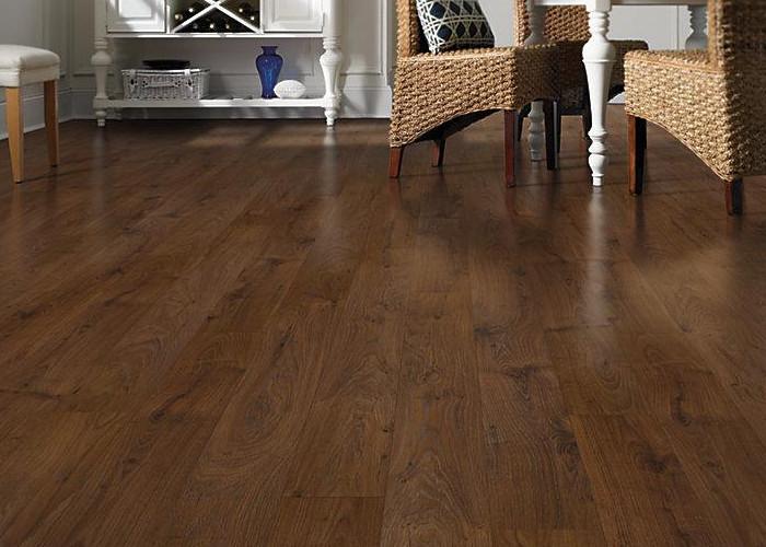 Oak Laminate Flooring allen roth 496 in w x 423 ft l lodge oak handscraped wood Customer Service
